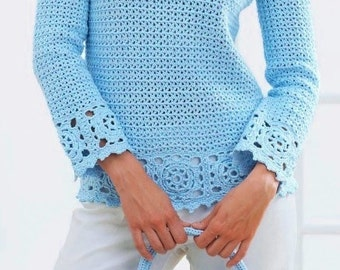 Ladies Tunic And Purse, Crochet Pattern. PDF Instant Download.