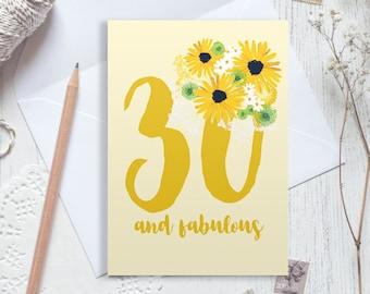 30th birthday card, 30 birthday card, happy 30th birthday, personalised birthday card