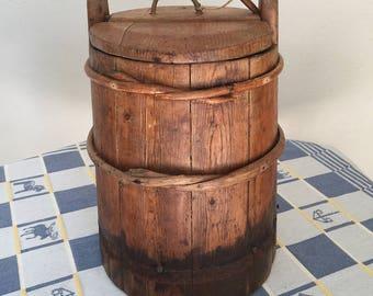Vintage Finno-Swedish Wooden Bucket with Lid
