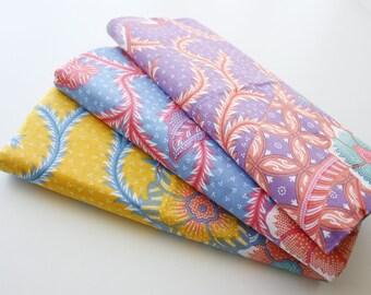 Batik Fabric, Floral Batik, Indonesian Batik, Batik Sarong, Two Toned Vines and Round Tiles, Cotton, Yellow, Purple or Blue, 2 metre long