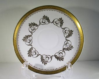 Vintage Royal Tuscan Replacement Saucer, Fine Bone China, Golden Leaves Pattern D2655, Made in England, 1970's