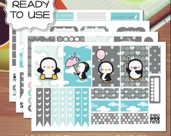 Kawaii Penguins Weekly Layout Stickers for MAMBI Happy Planner (Classic Size)