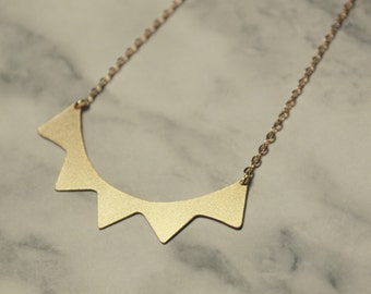 Crown necklace - triangle necklace - geometric necklace - minimal necklace
