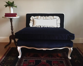 Petite Vintage French Settee Newly Refinished in White and Reupholstered in Midnight Blue Velvet Down and Feather Cushion w Ruffle Pillow