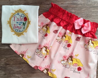 Beauty and The Beast Girls Outfit, Belle Skirt, Belle Outfit, Beauty and The Beast Shirt, Belle Shirt