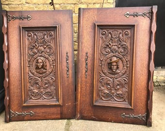 A Pair of Antique Beautifully Hand Carved French  Cabinet Doors