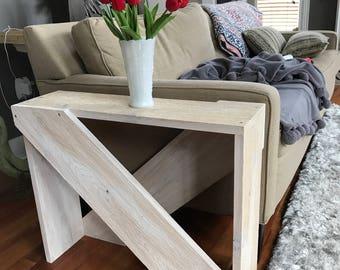 Cedar side table, entry..