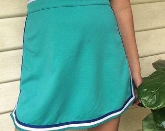 60s Teal Cheerleading Tennis Skirt