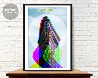 New York Prints, New York skyline, New York poster, Modern art, Glitch art, Travel Poster, New York city, photography, New york art, Skyline