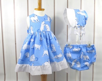 3 Piece Ensemble, Baby Girl, Size 12 Months, Pinafore Dress, Bloomers, Bonnet, Kitten Print, Handmade, One of a Kind, Ready to Ship
