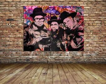 Run DMC Mr Brainwash Grafiti Hip Hop Legends Canvas Print