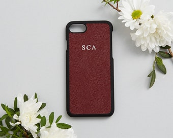 Saffiano Leather Phone Case iPhone 7 Cover Burgundy