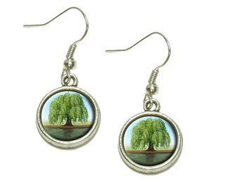 Old Weeping Willow Tree Dangling Drop Charm Earrings