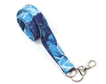 BLUE FLOWER Fabric Lanyard, Fabric badge holder, Blue badge holder, Blue silver lanyard, floral lanyard