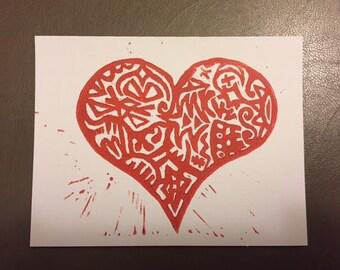 Set of Five Valentines - Doodle Heart