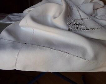 Pure Linen  Bedsheet, Vintage French Linen, Monogrammed HP Kingsized Sheet, White