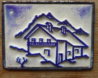 rench Rubber Stamp on Metal Back, Ink Stamps, Chalet Design