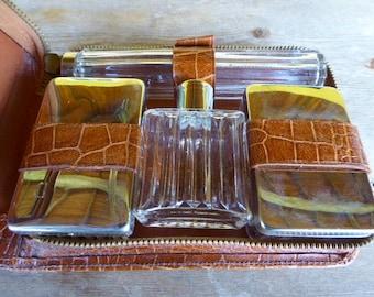 Faux Crocodile Skin Vanity Set, Retro French Grooming Kit, Man's vanity Set