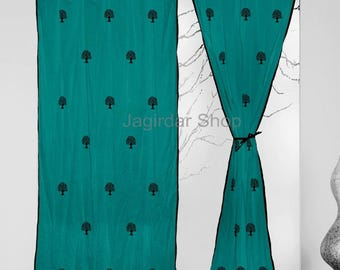 window curtains Turquoise curtains decor housewares TWO panel Hand Block printed Natural Tree 2 Pcs