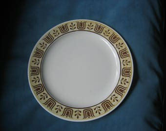 "Brown/Gold/White 1960s/70s Large 12 1/2"" Serving Plate/Platter"