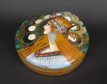 """Russian Lacquer Box Mucha """"Zodiaс """" with Pearl-Fedoskino hand painted Lacquer Box"""