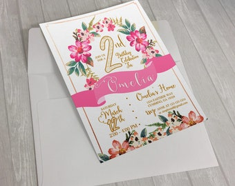 Digital Floral 2nd Birthday Invitation, Garden Party Invitation, Girls Pink and Gold Birthday Invitation, Flower Birthday Invitation. Art