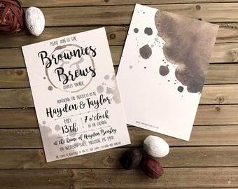 Digital Shower Invite - Customizable - Couples Shower Invite - Brownies & Brews