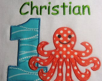 Personalized First Birthday Shirt. Octopus Birthday Shirt or Onesie. Boy's Birthday Shirts. Girl's Birthday Top. Ages 1-9. Octopus001