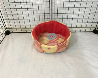 Large Reversible Peach Blue & Yellow Floral Cuddle Cup Bed for Guinea Pigs, Rats, Rabbits, Hedgehogs, Ferrets Uhaul Pee Pad Insert Availible