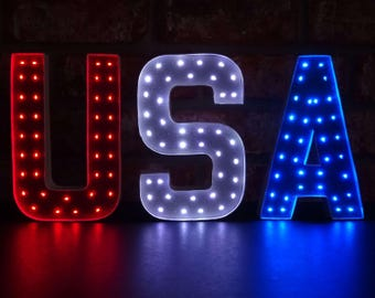4th of July - USA - Red White & Blue Marquee Letters - 8 Inch or 4 Inch - Paper Mache Lighted Letters