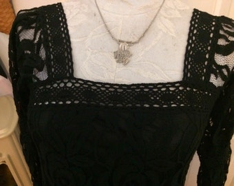 Boho Style Solitare Lace Sheath Dress Evening Dress Size Small