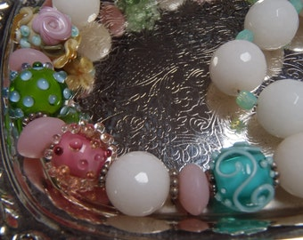 Vintage Necklace Glass Beads Assorted Pink Green Blue White Fancy & Faceted approx 45cm (19 inches) long