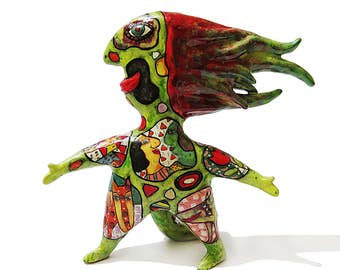 Green man ceramic sculpture, Spirit of fire, Forest spirit, Shaman figurine totem, magic gift, best friend gift