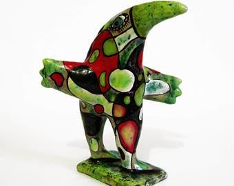 Green bird ceramic sculpture, Penguin, Penguin Clay Sculpture, bird figurine, clay bird, Ceramic bird, colorful bird, exotic bird