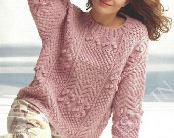 PDF Instant Digital Download ladies girls aran sampler sweater knitting pattern 30 to 40 inch bust (152)