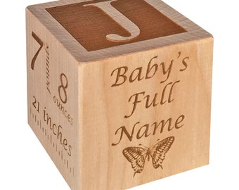 Personalized Baby Block New Baby Gift Newborn Baby Gift Personalized Baby Gift Newborn Gift Wooden Baby Block Nursery Decor Gift for Twin