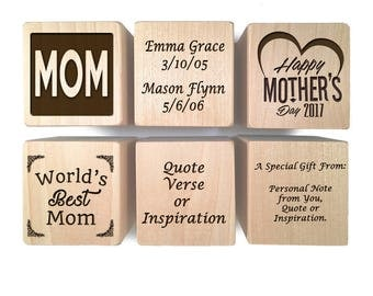Mothers Day Gift Block -  First Mother's Day Keepsake Personalized Custom Engraved wooden baby blocks girl baby boy Children gift basket