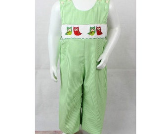 SALE! Boys  Longalls Overalls - Gingham Green Spring Summer Owl  Smocked