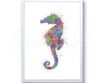 Sea Horse Sea Animal Watercolor Art Print  - Watercolor Painting - Sea Life Watercolor Art Painting - Home Decor - House Warming Gift