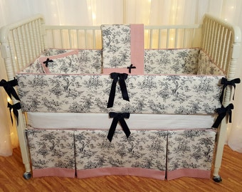Toile Crib Bedding/Baby Bedding/Baby Girl Nursery Set/Designer Grade/Black Central Park Toile/Bumpers/Baby Quilt/Crib Skirt/Decor Pillow
