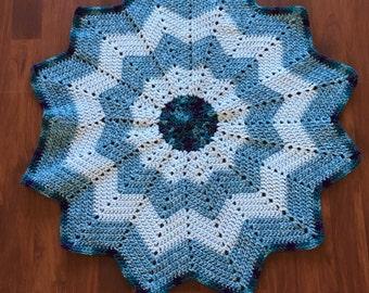 Hand crocheted 12 point star baby blanket