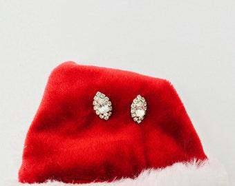Vintage Sarah Coventry Marquise Rhinestone Earrings