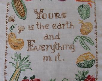Darling Embroidered Sampler with Vegetables