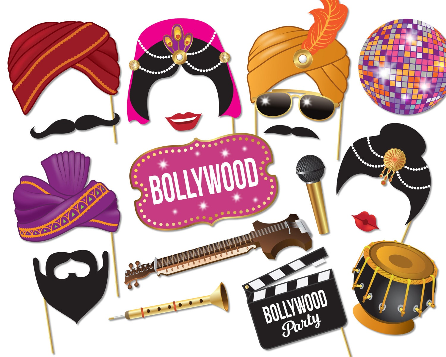 Bollywood Party Photo booth props Bollywood Wedding