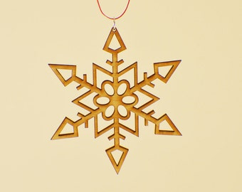 Laser Cut Wood Snowflake Ornament - Design #1 - 50% off
