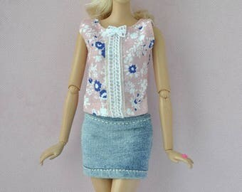 Beautiful handmade blouse and skirt for Barbie,Fashionistas dolls