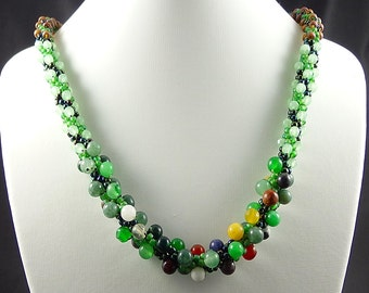 Kumihimo Beaded Necklace, Green Beaded Necklace, Semi Precious Stone Necklace, Gift for Her, Seed Bead Jewelry, Handcrafted Kumihimo Jewelry