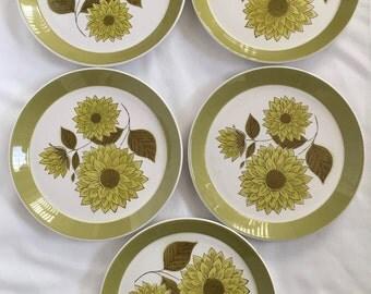5 Mikasa Dahlia Duplex Ben Seibel Salad Desert Plates Green White Floral Retro