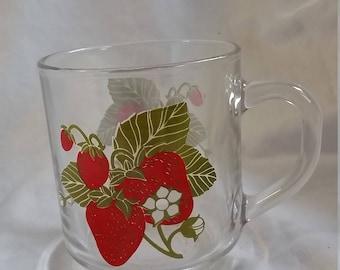 Strawberry glass mug