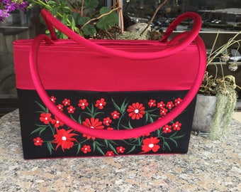 Embroidered Silk Purse, Strawberry Red Embroidered Silk Purse